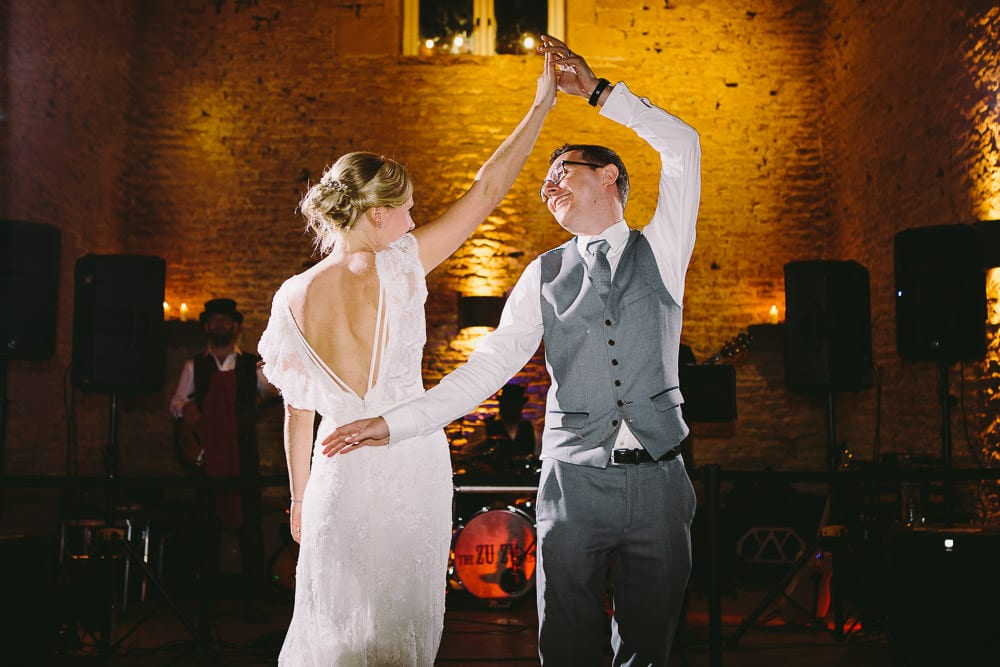 Bride and groom having their first dance at Cripps Stone Barn