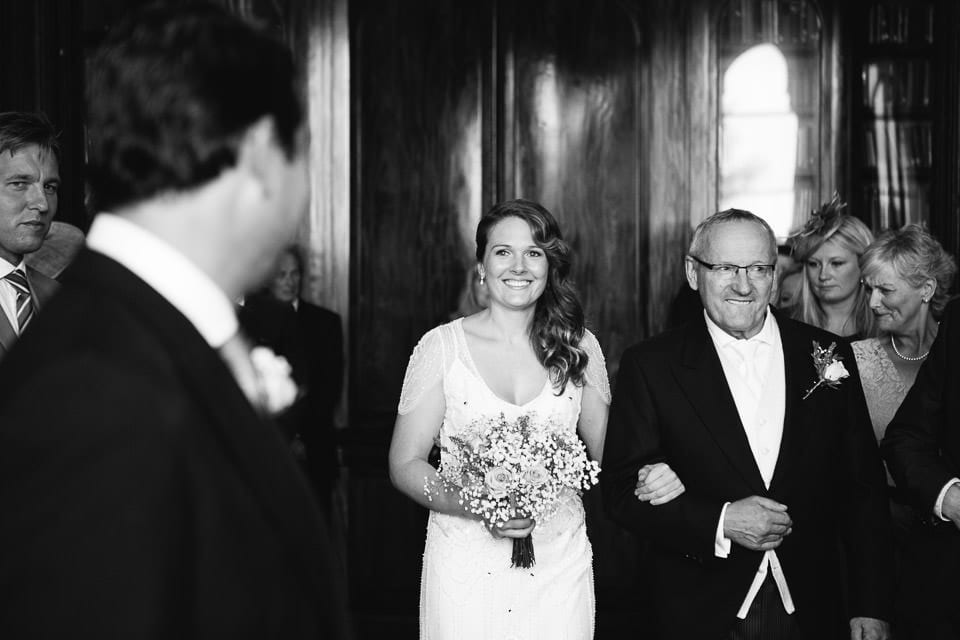 Black and white image of brides entrance