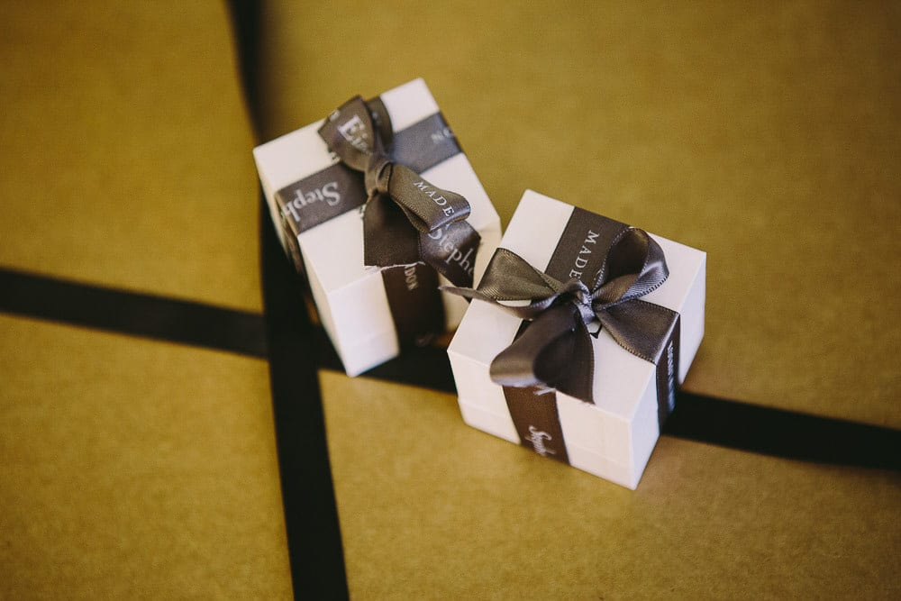 Close up of the ring boxes in the hotel room of The Hoxton London