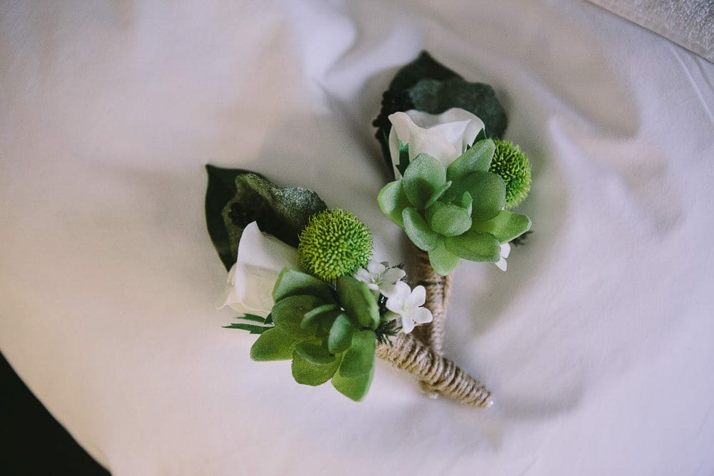 Close up of both buttonholes