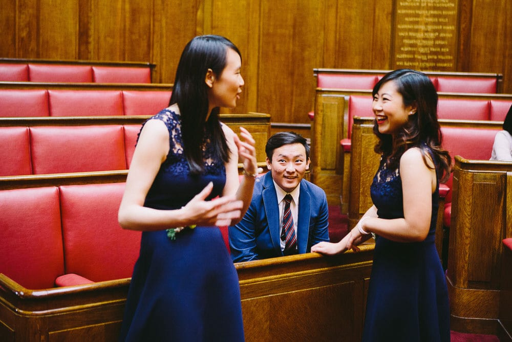 Bridesmaids in the Grand Chamber at Wandsworth Town Hall