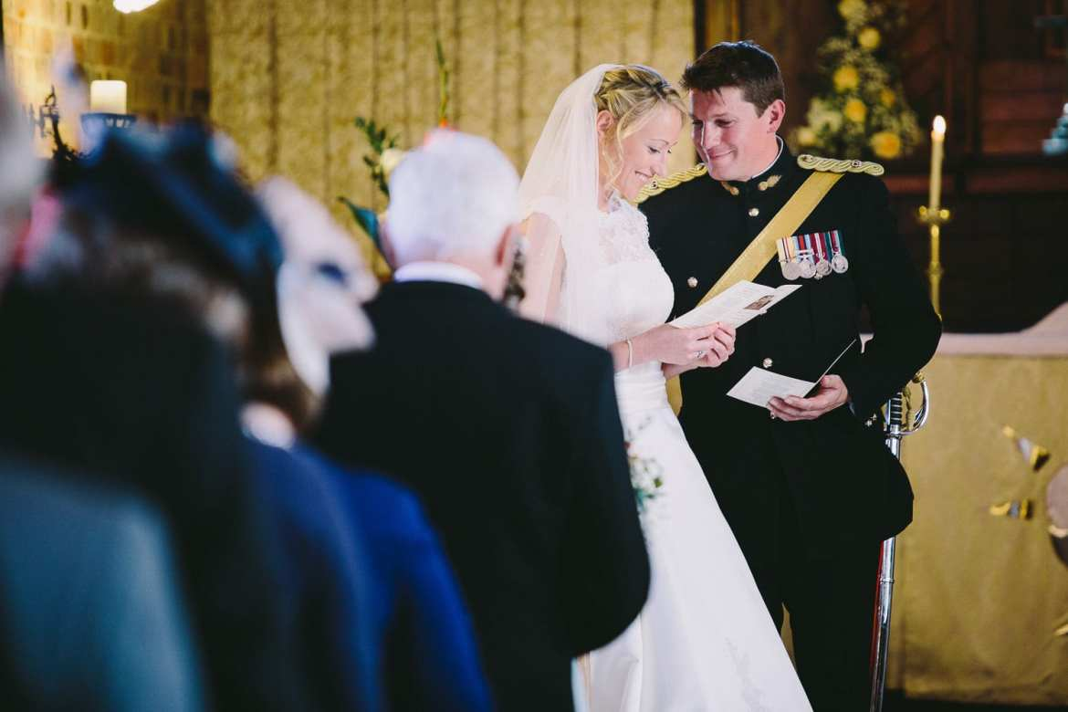 Couple in church at start of ceremony