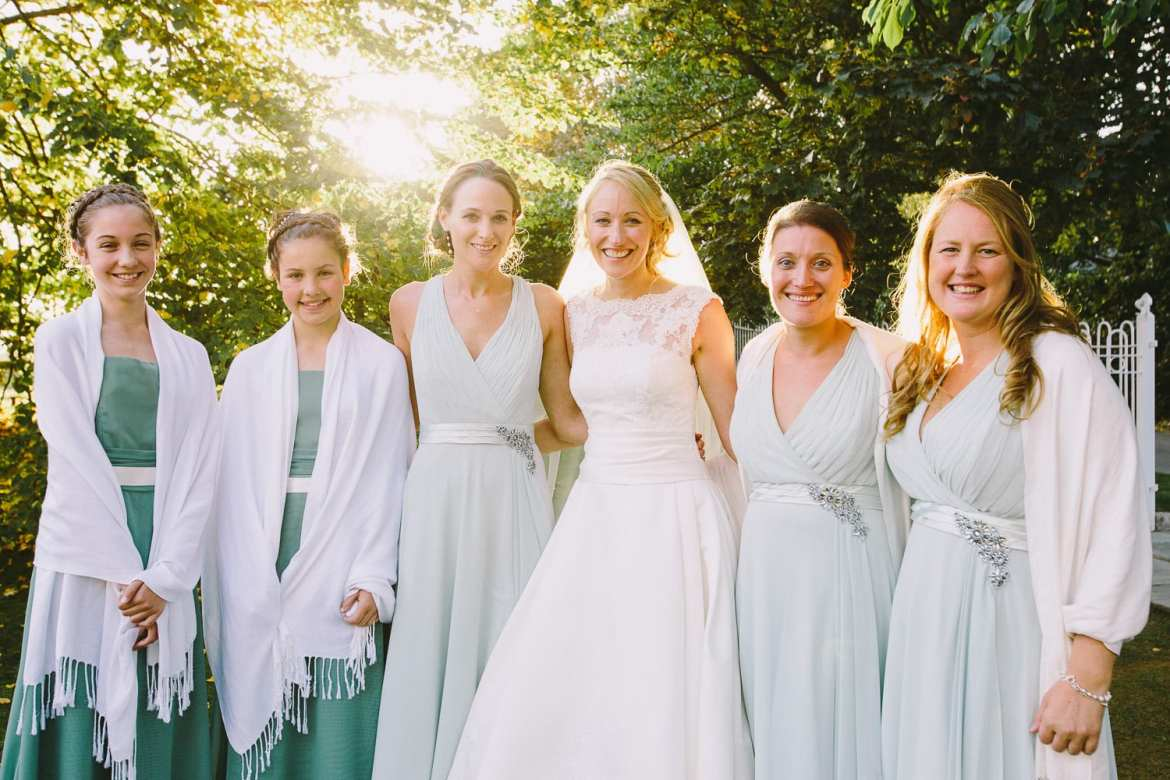 Bride with her beautiful bridesmaids
