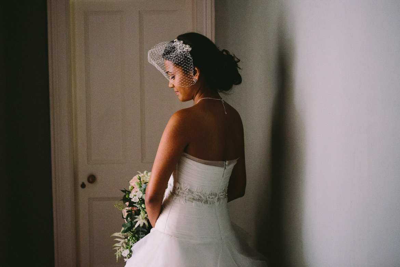 A bridal portrait outside the bridal suite