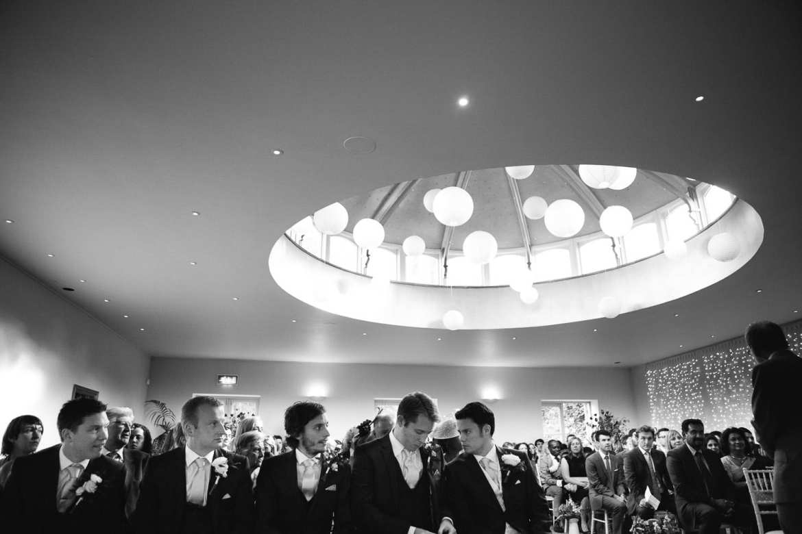 A black and white image of the ceremony room at the Matara centre
