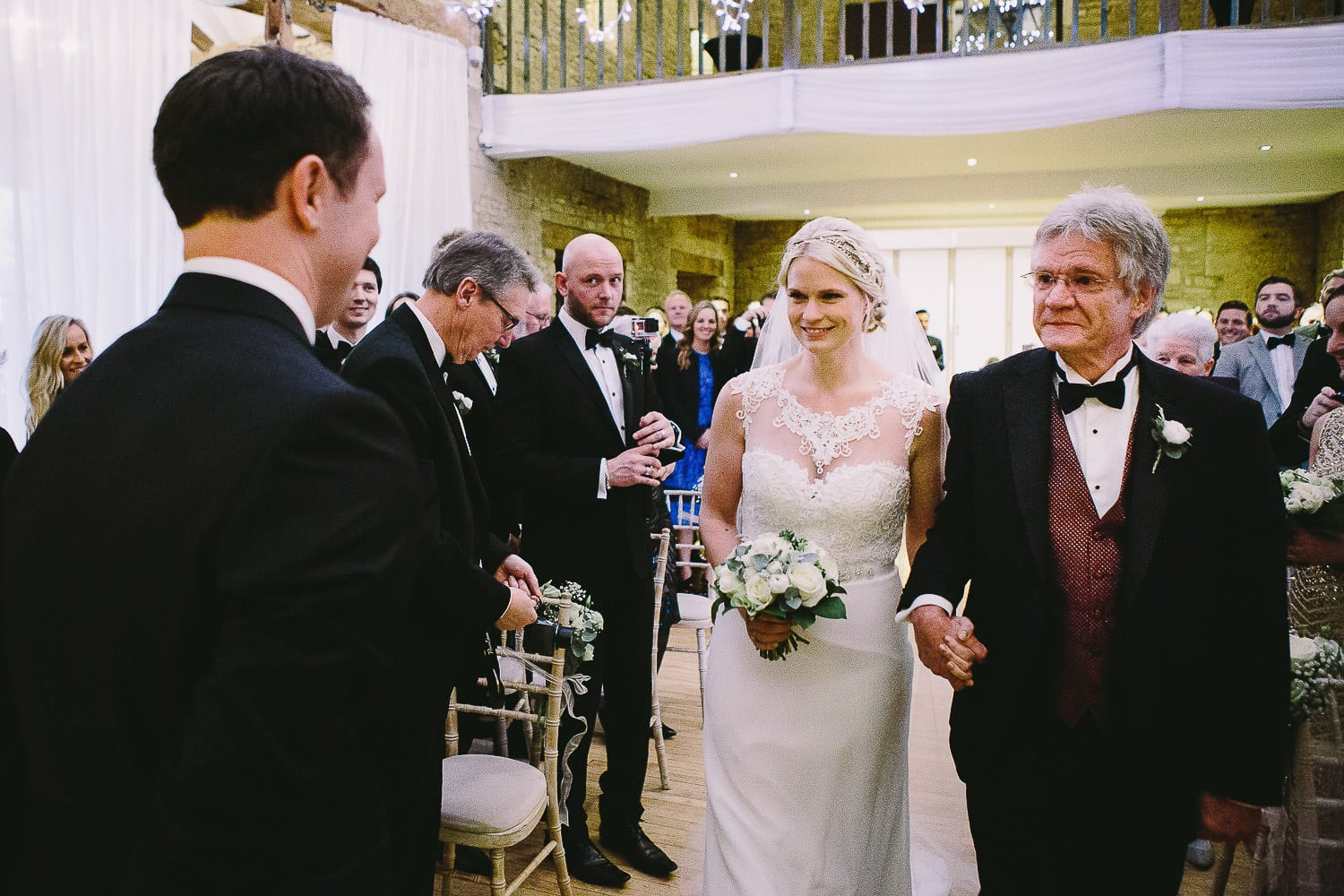 Bride and her father arriving at front for ceremony