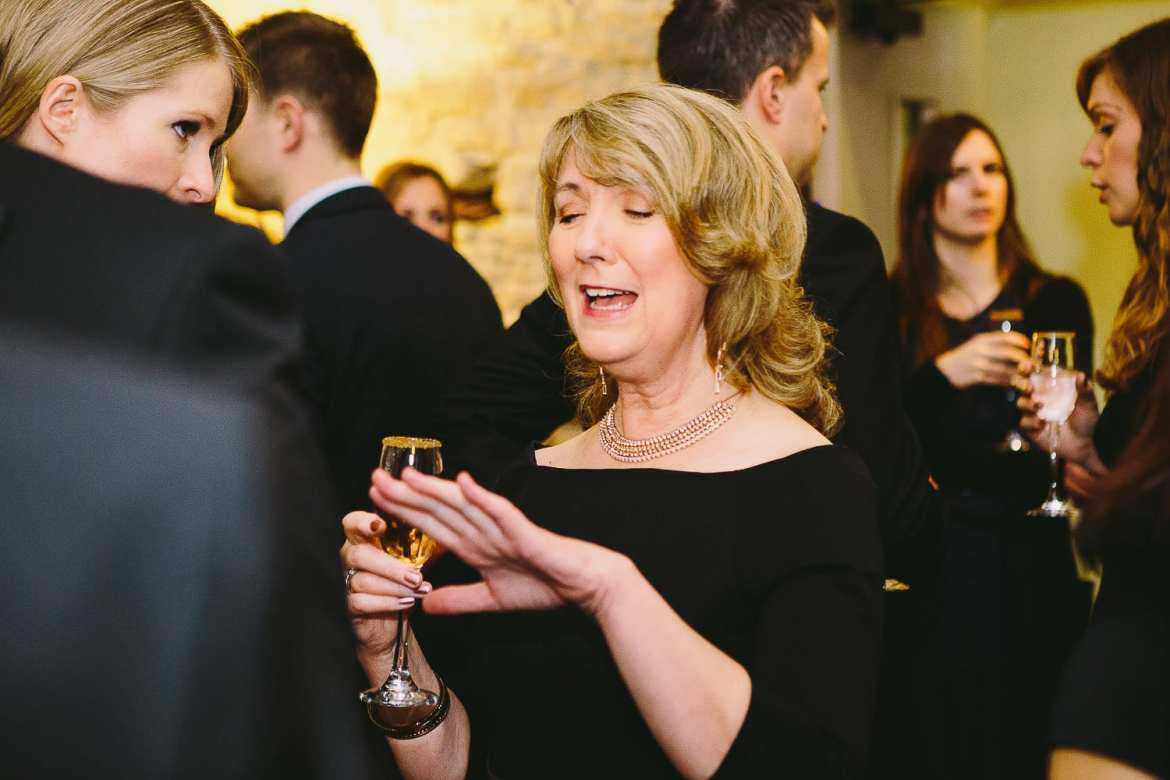 Grooms mother during drinks reception