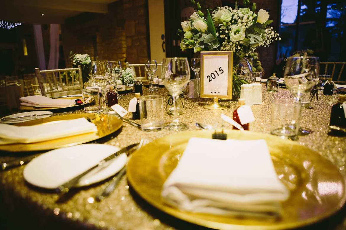 Image of the top table ready for wedding breakfast