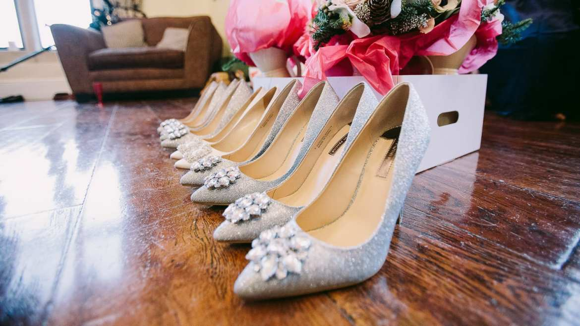 A line of bridesmaids shoes