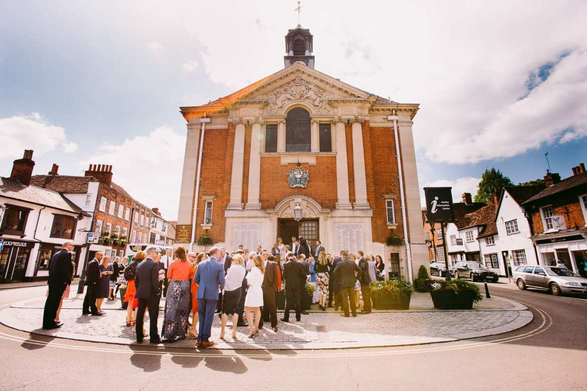 Wedding guests outside Henley Town Hall