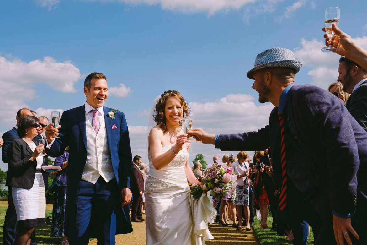 Bride and groom greeting their guests at Greenlands