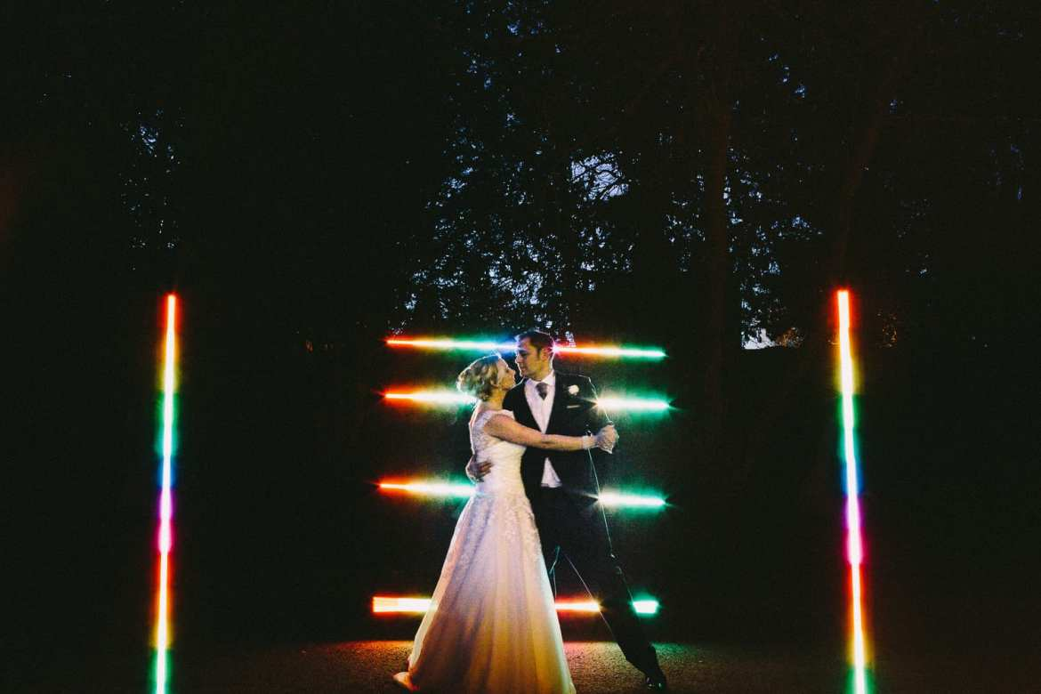 A nigttime portrait with a pixelstick