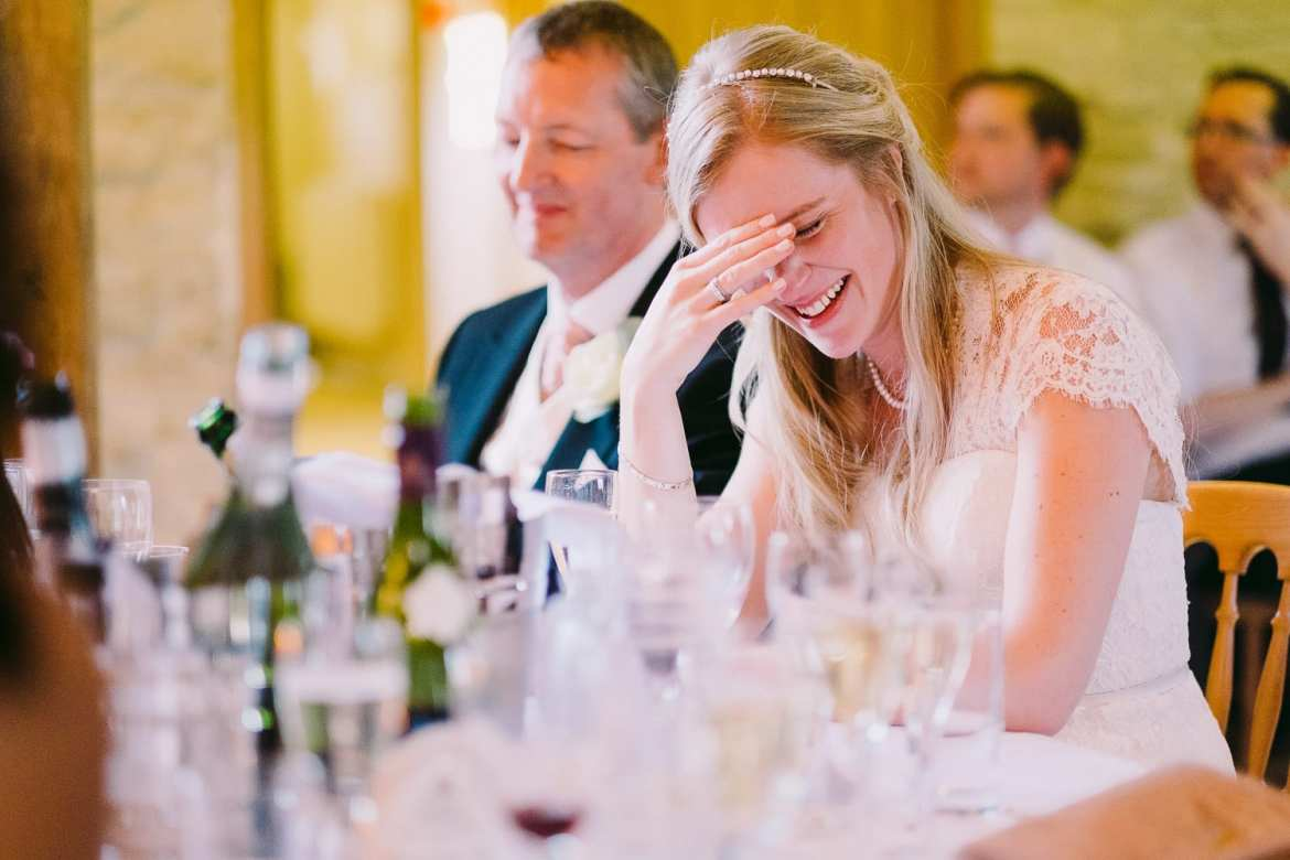 Bride watching speeches