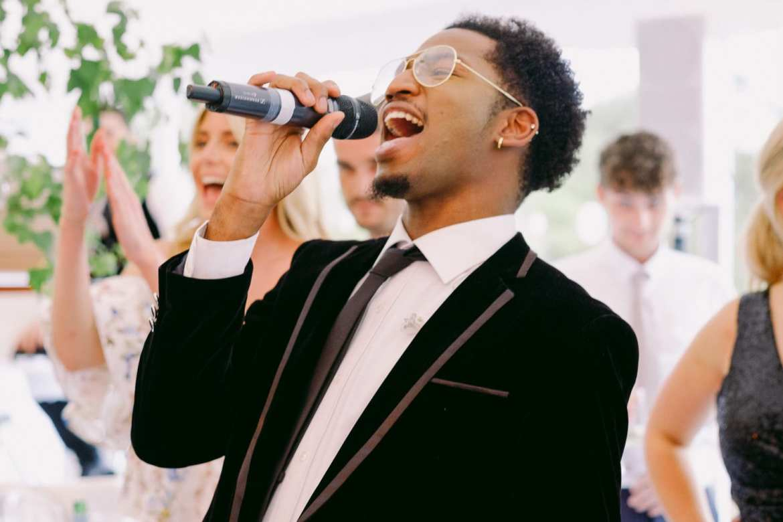 Singers serenading the bride and groom