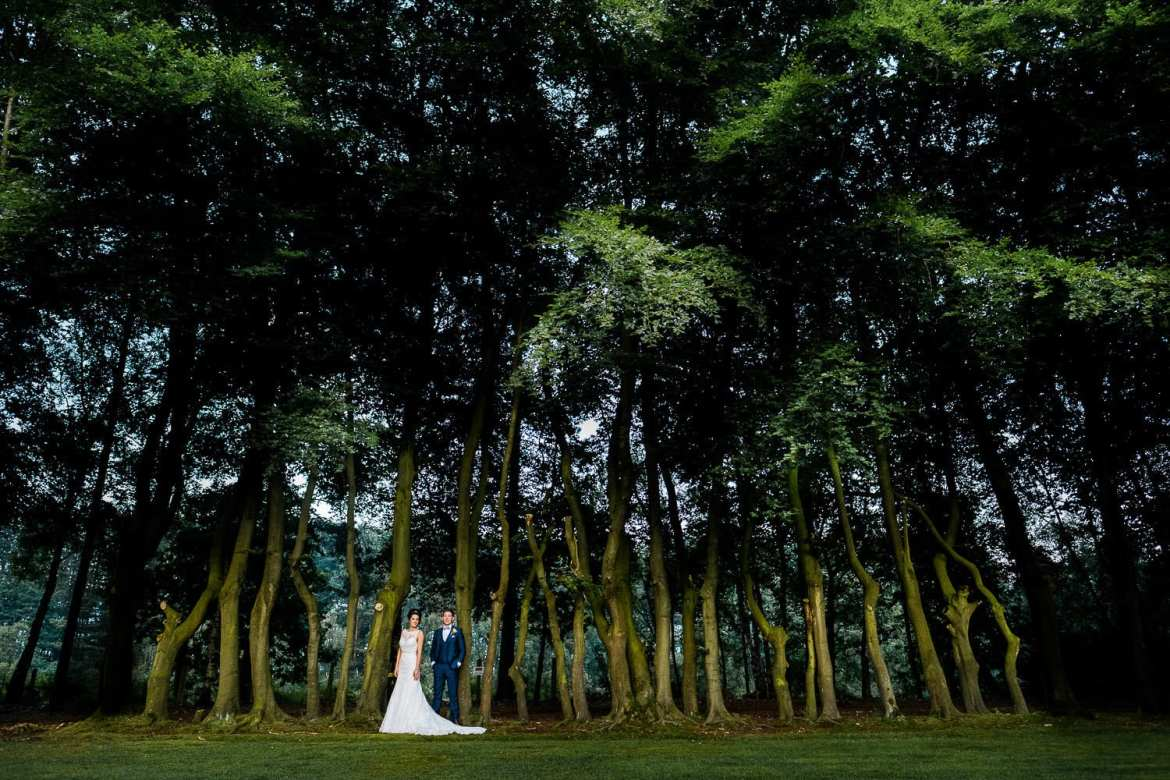 The newly married couple in the gardens at Nunsmere Hall