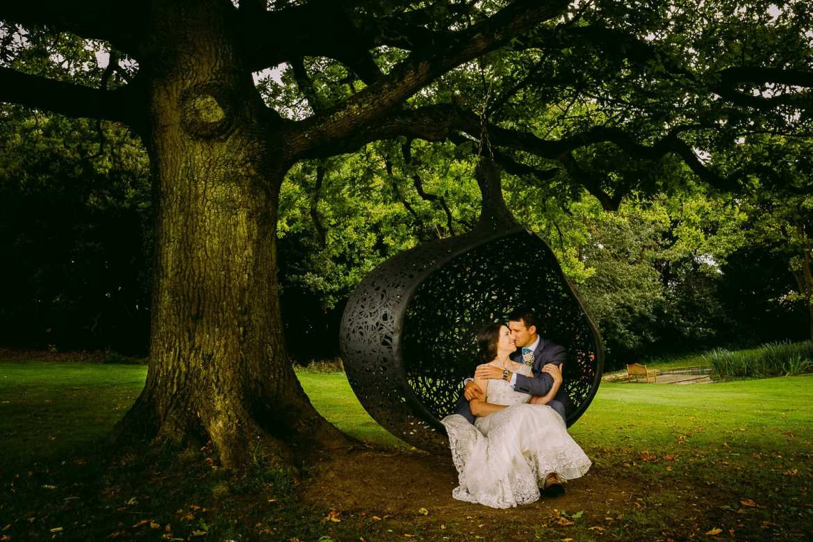 The bride and Groom in the swing chair