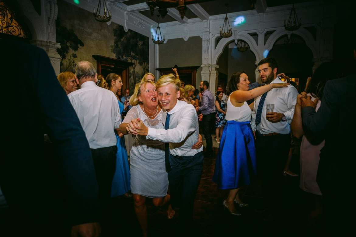 Wedding guests partying at Clevedon Hall