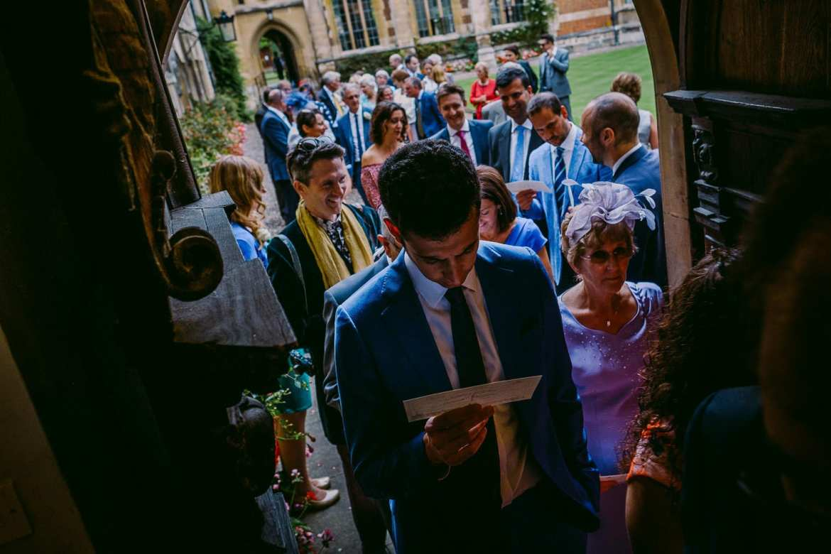 Wedding guests at Pembroke college enter the Old Library