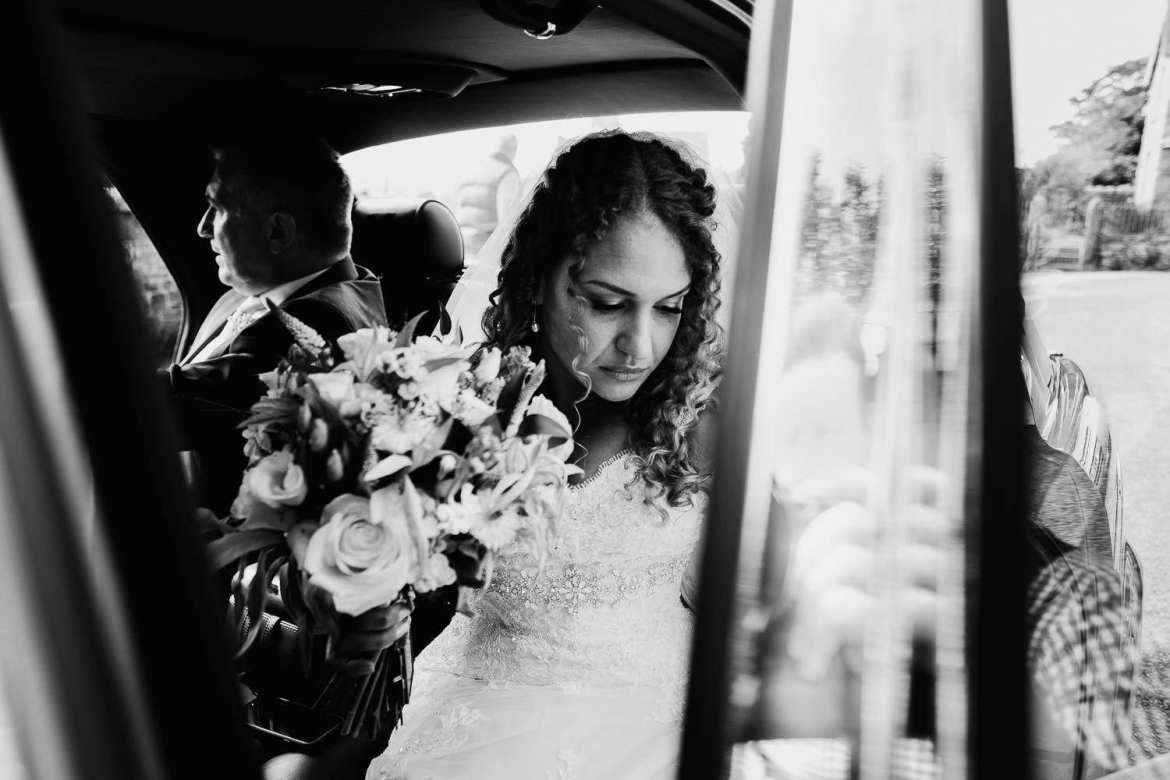 The bride getting out of the car
