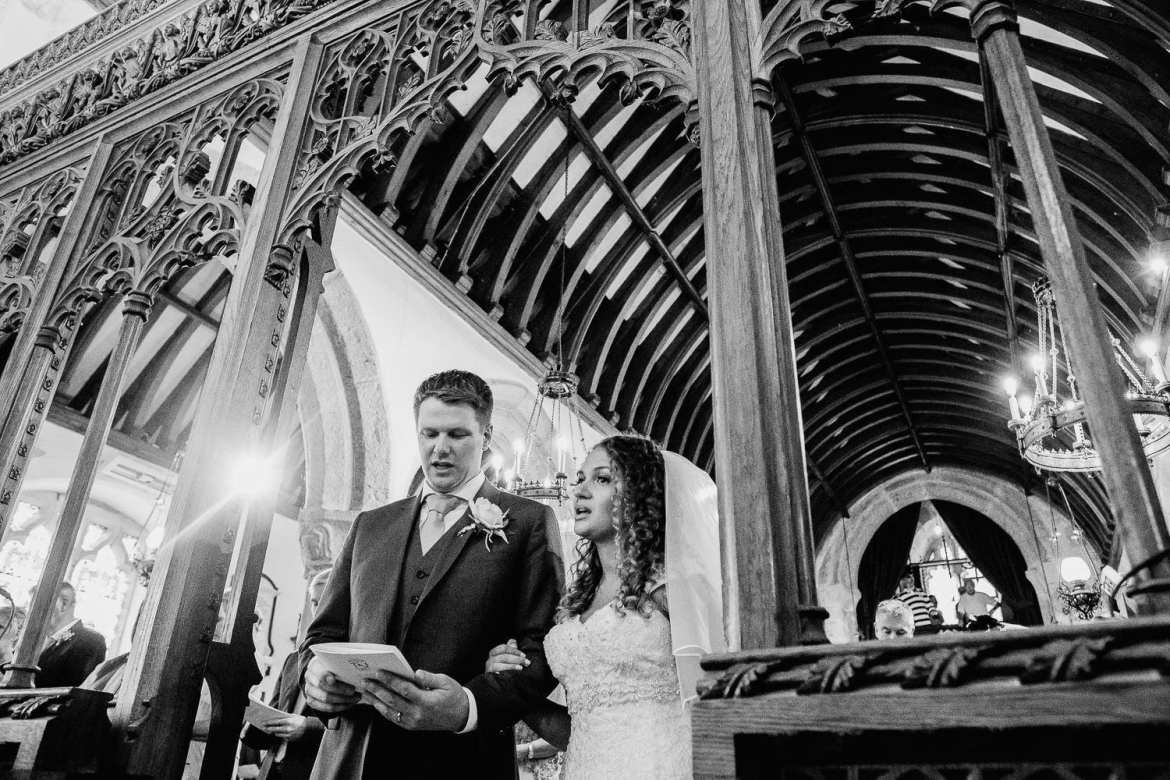 The bride and groom in Guval Church Penzance Cornwall