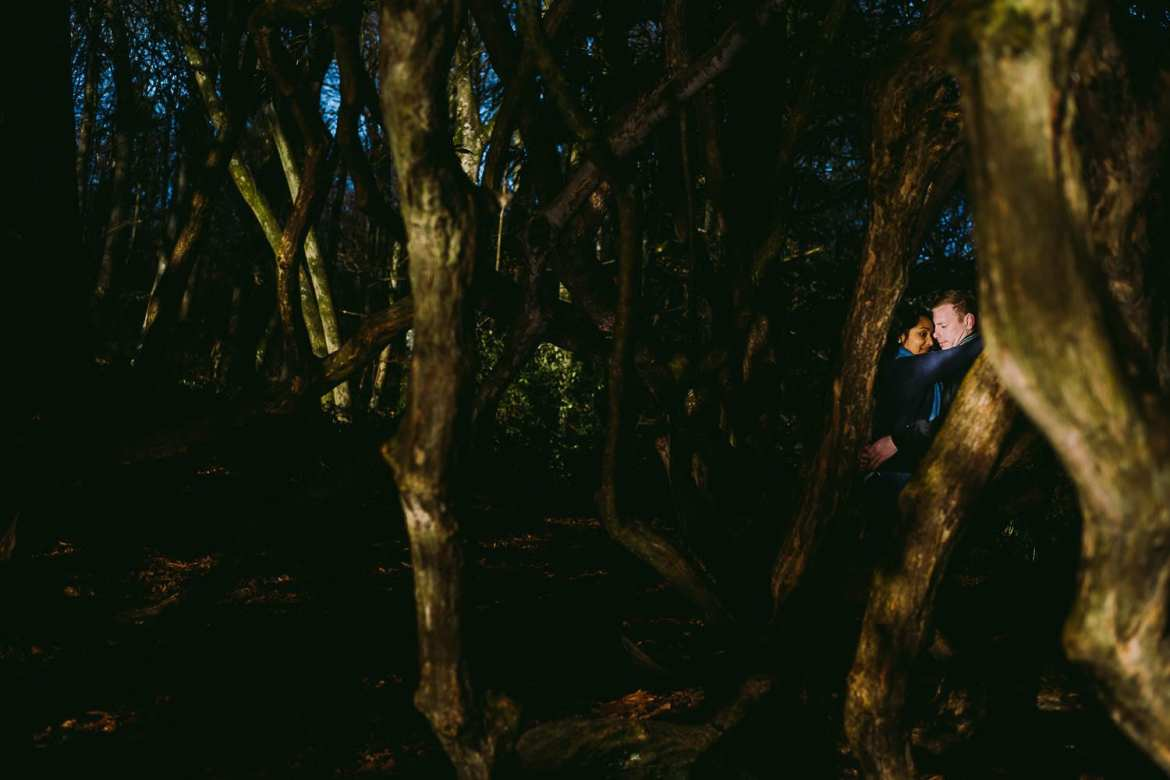 engaged couple in the trees