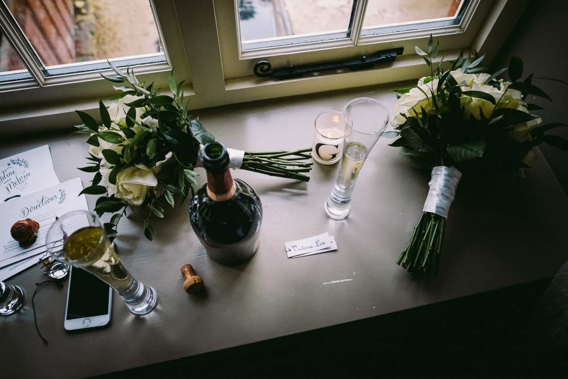 Bouquets and champagne in the hotel window