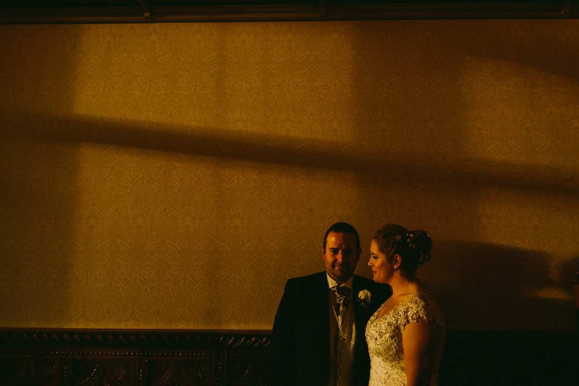 Portrait of the bride and groom in the lounge