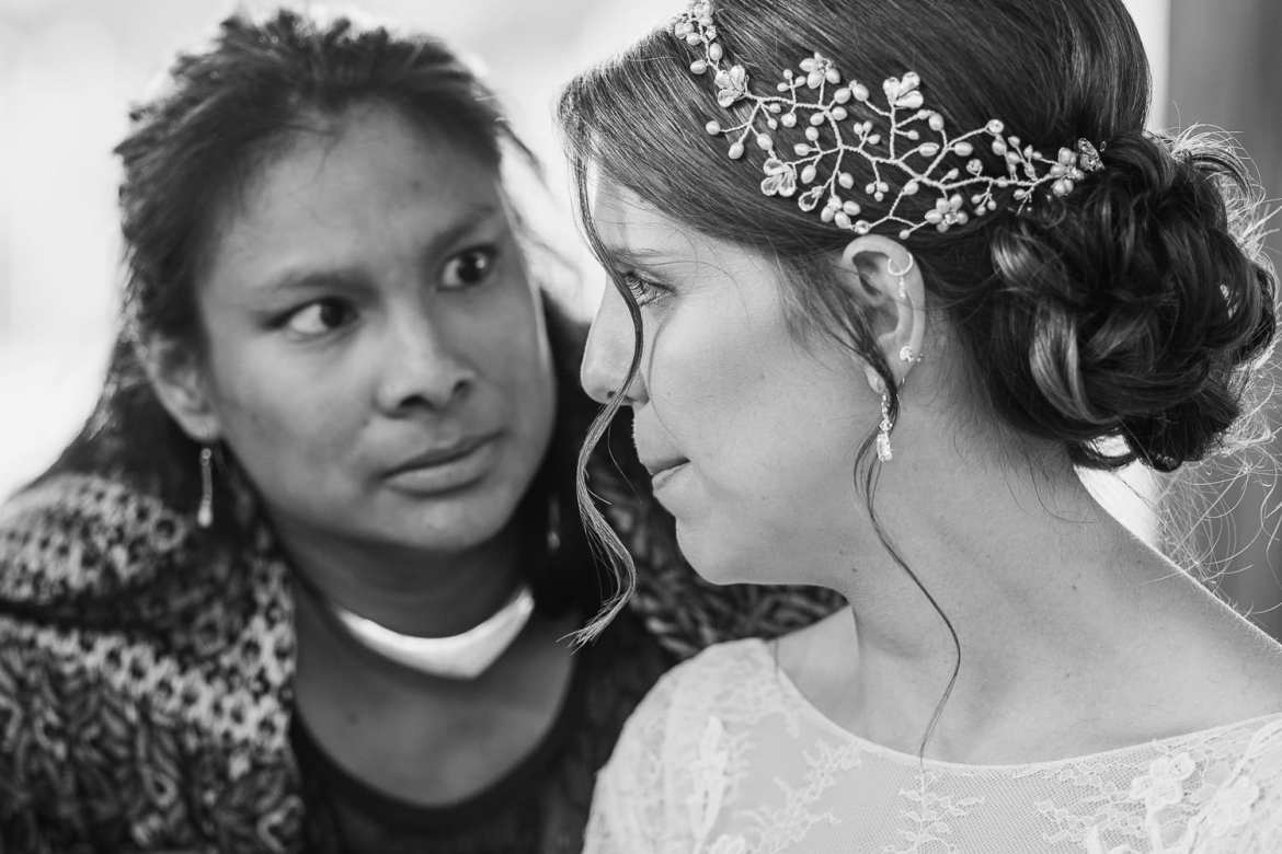 A guest stares at the bride