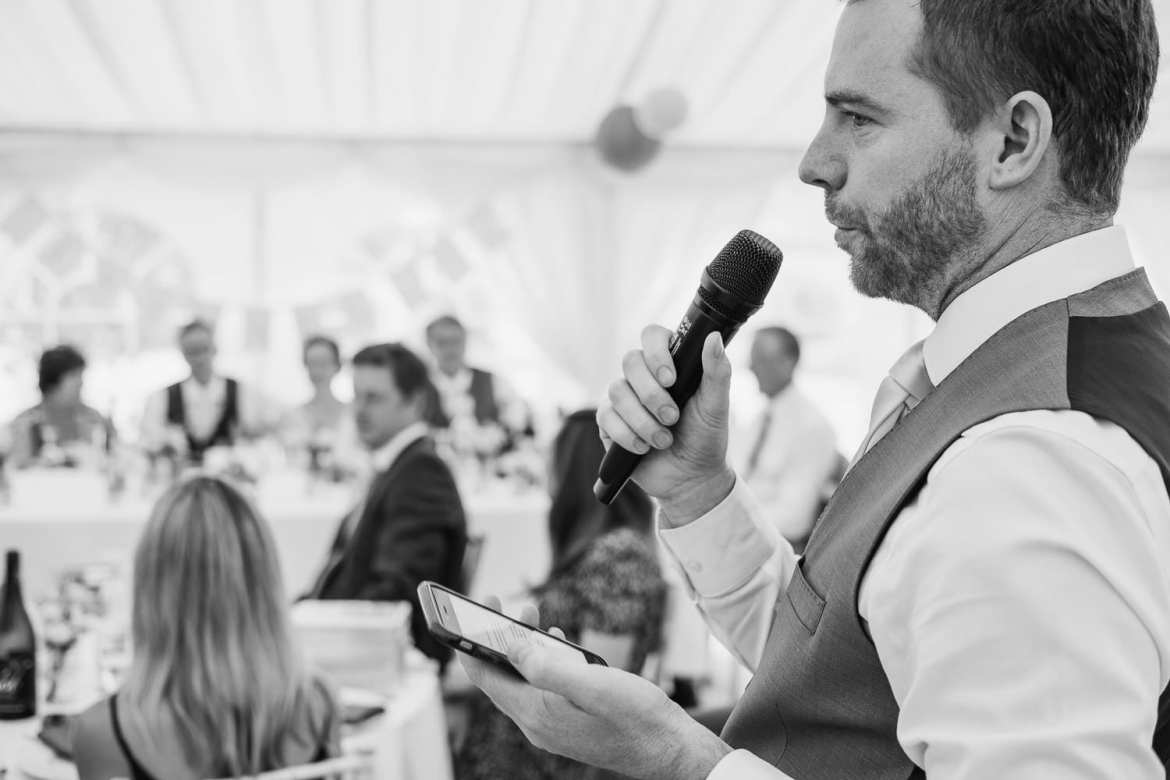 The brother of the groom gives a wedding speech