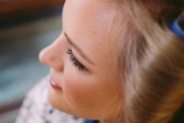 Close up of bridal make up