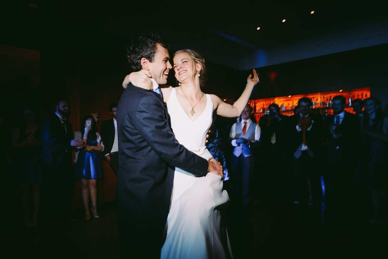 Bride and groom dancing at Cowley Manor