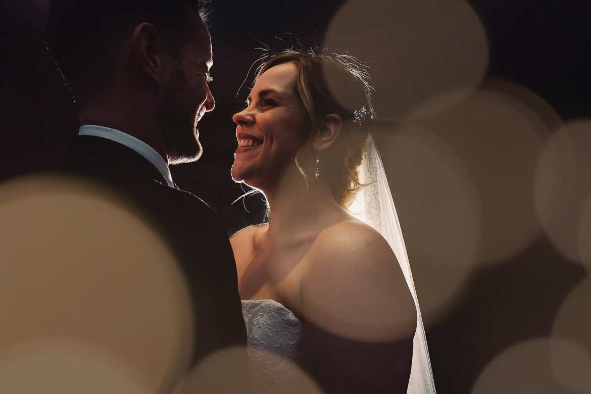 A wedding portrait of the bride and groom