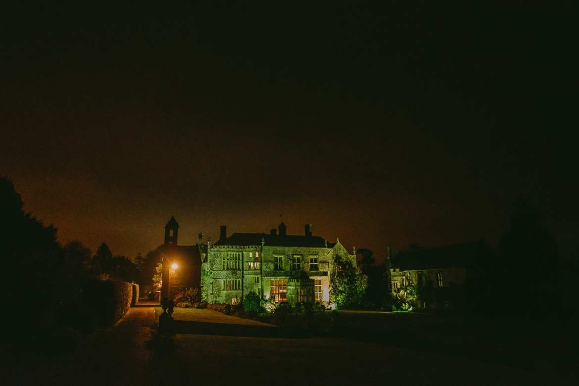 Brympton House lit up at night