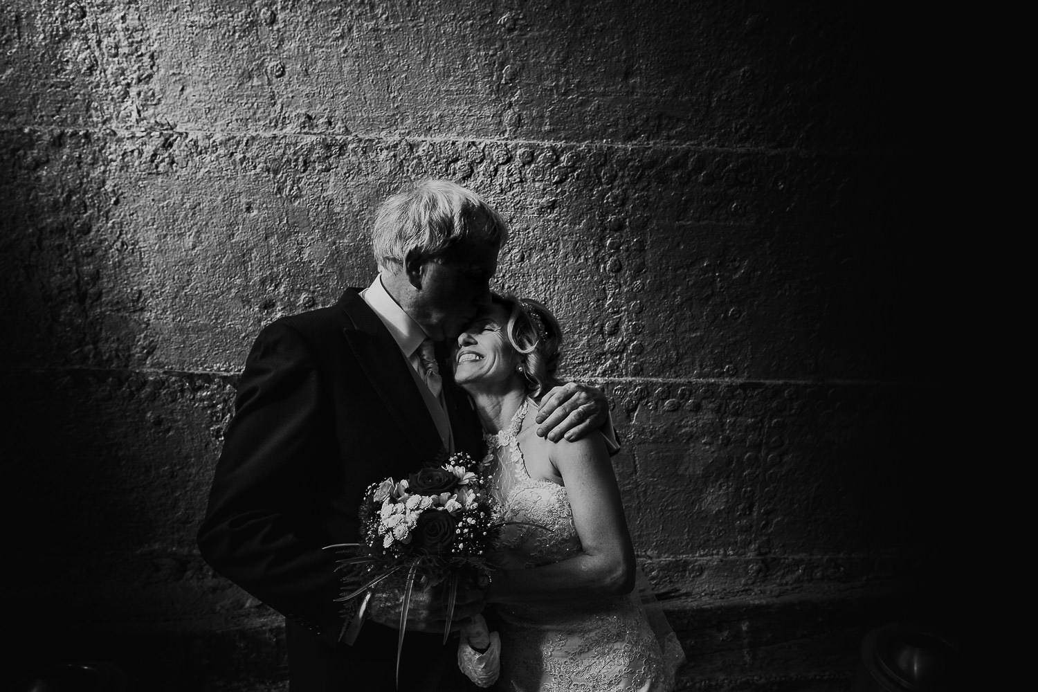 A portrait of the bride and groom