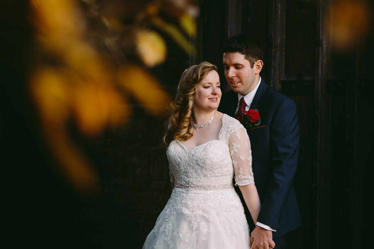 A portrait of the bride and groom at Berekeley Castle