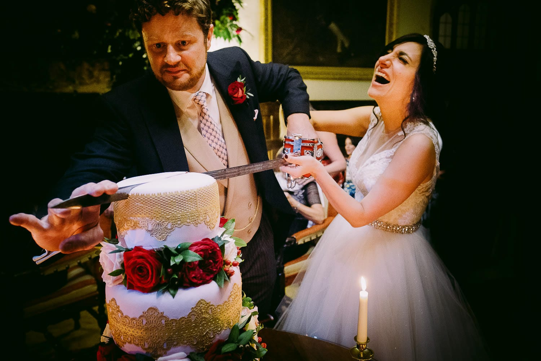 Cutting the cake at Brympton House