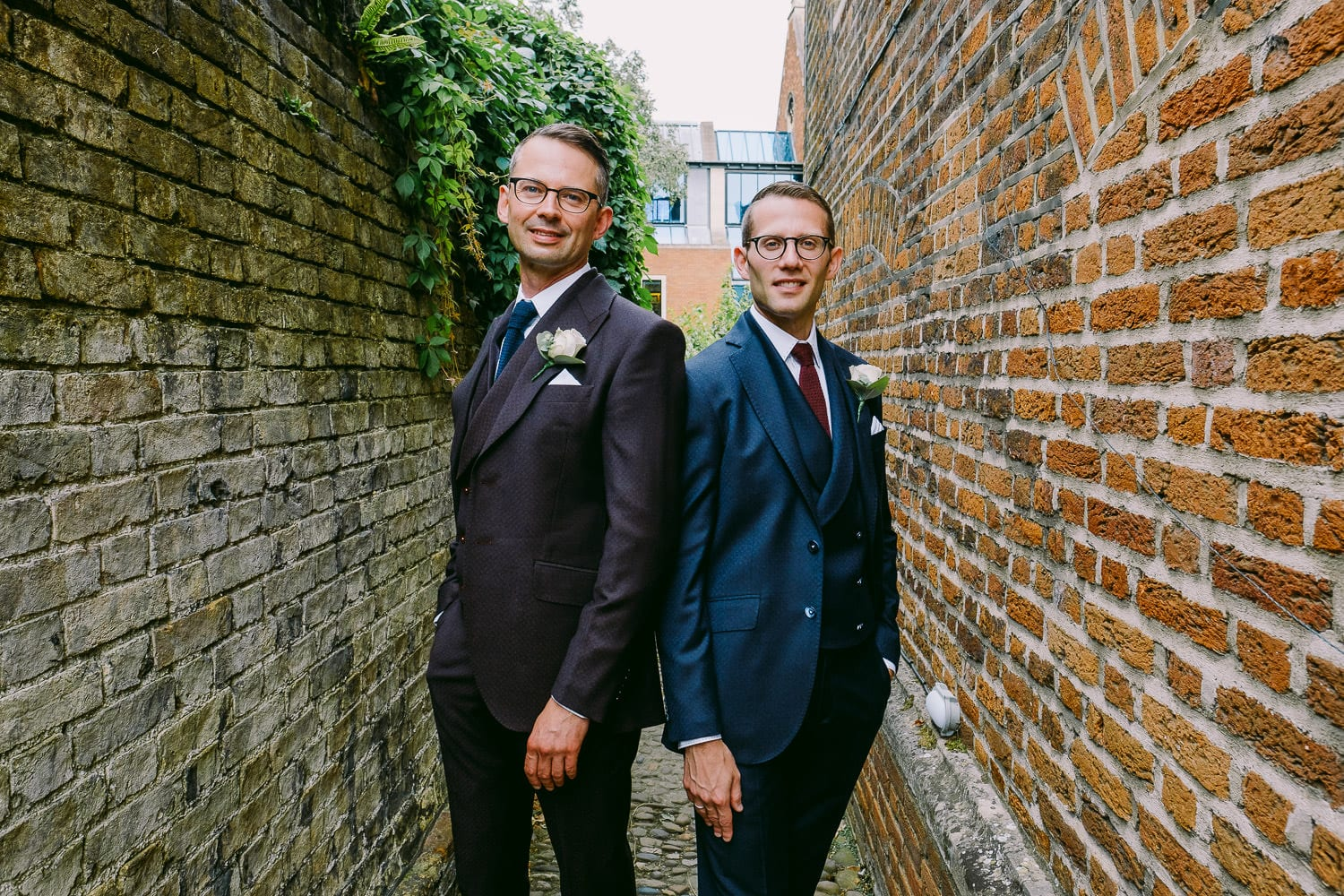 A portrait of the groom and groom