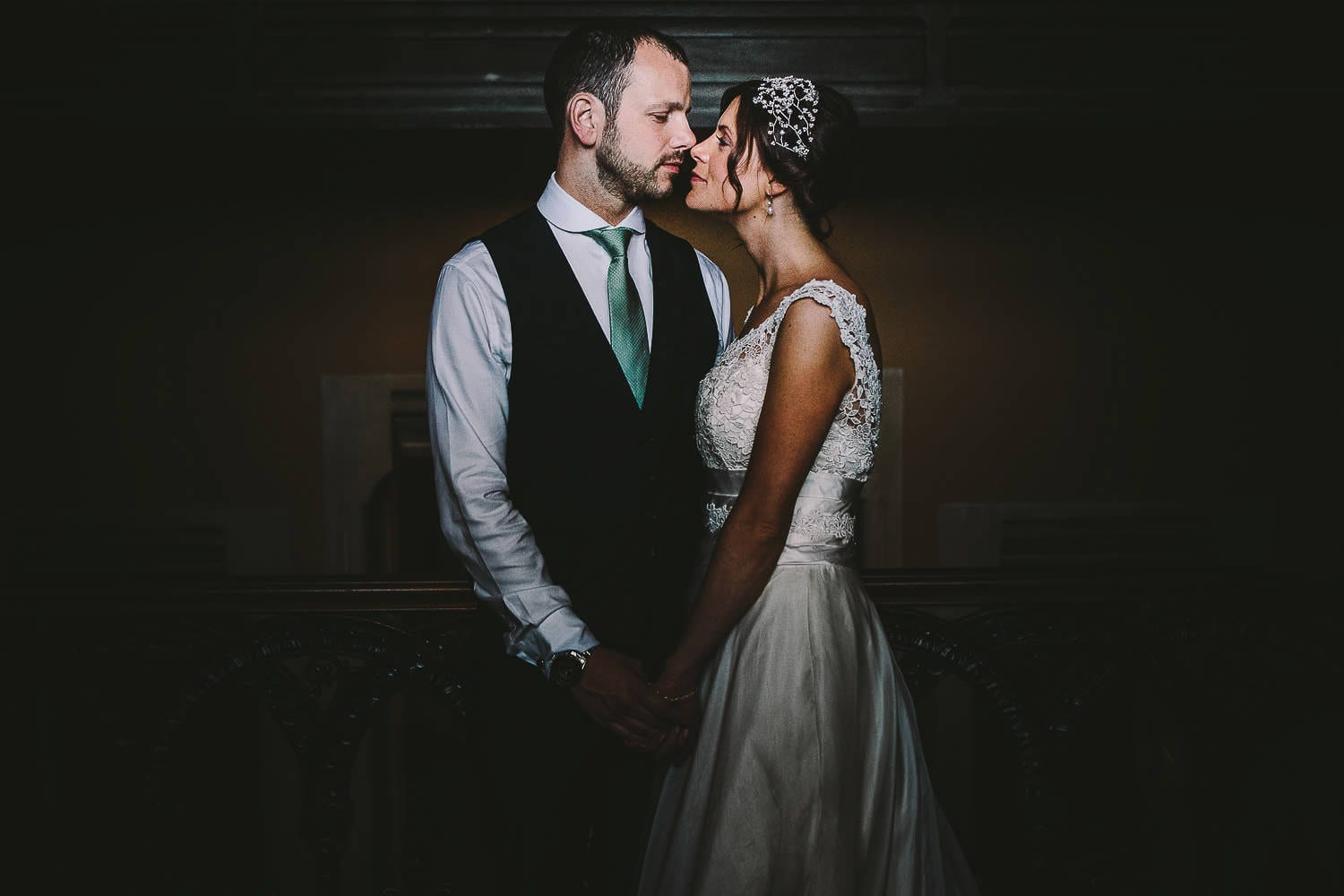 A portrait of the bride and groom at Grittleton House