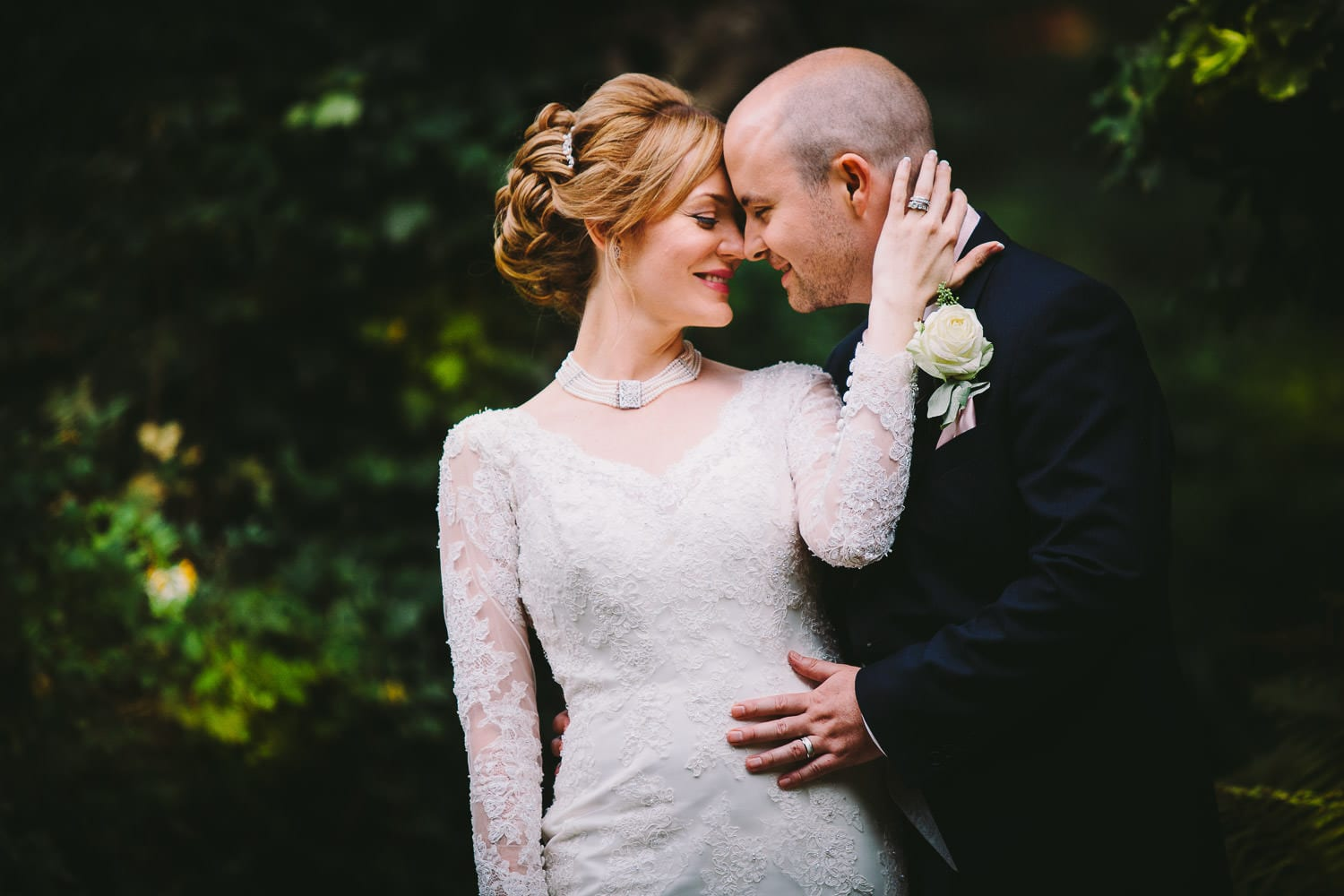 A portrait of the bride and groom at Bath Spa Hotel