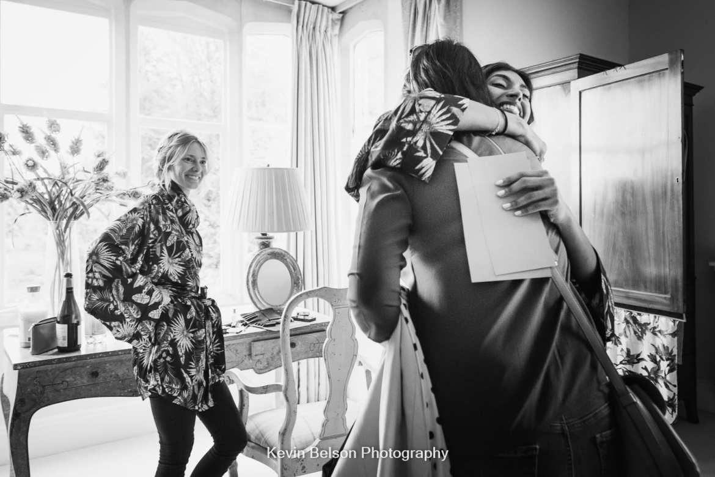 bride hugs