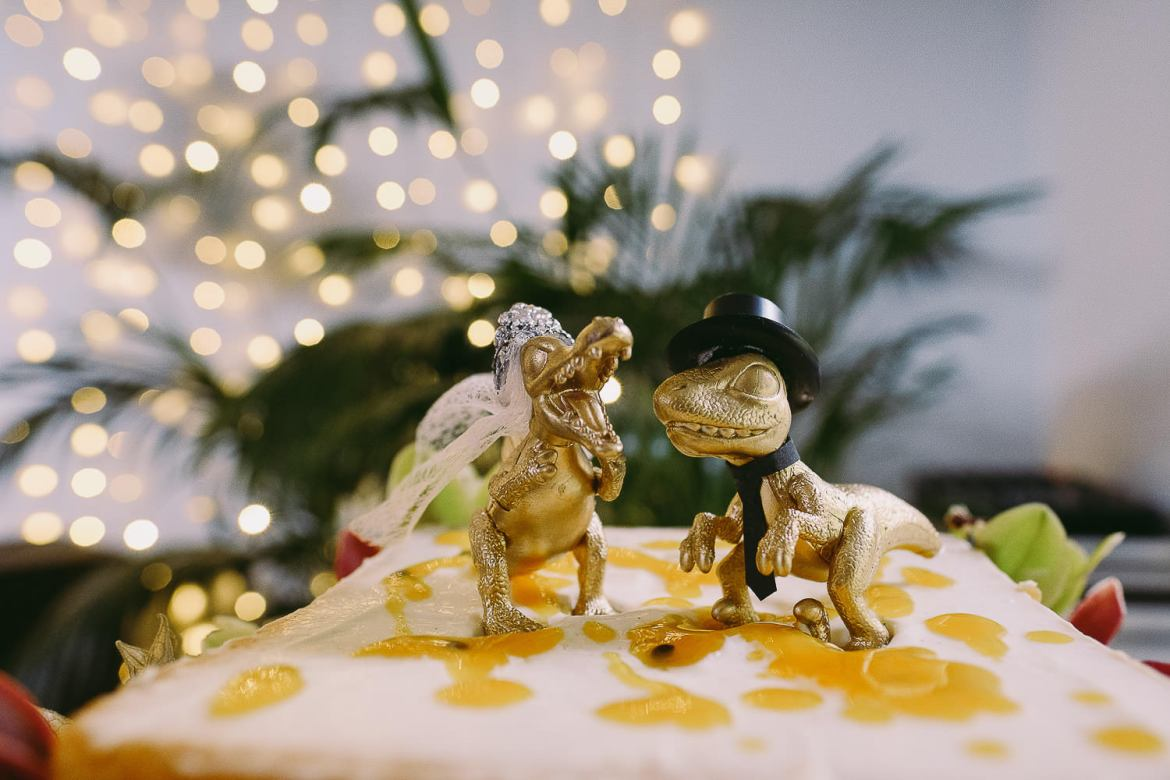 A dinosaur wedding cake