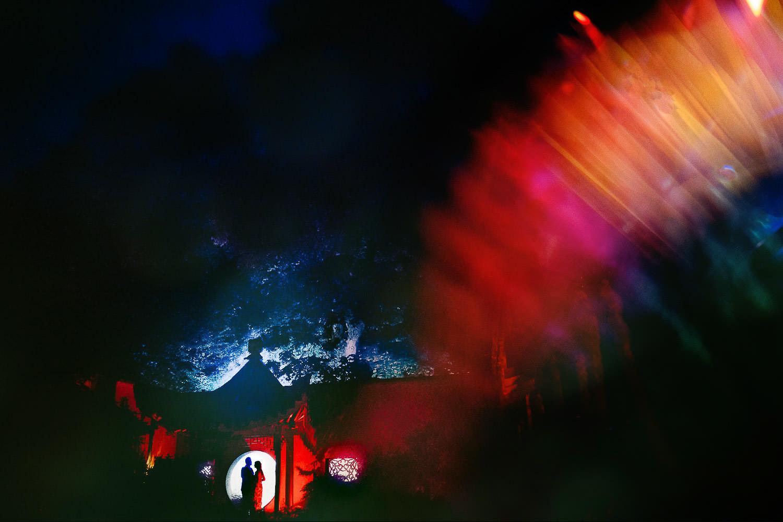 Silhouette in the Japanese garden at Matara