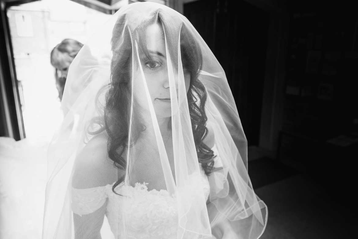 The bride waits for her entrance