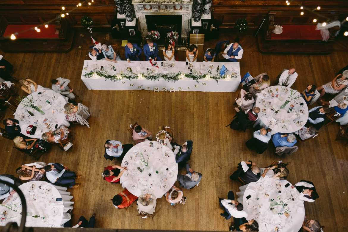 a top down view of the wedding breakfast