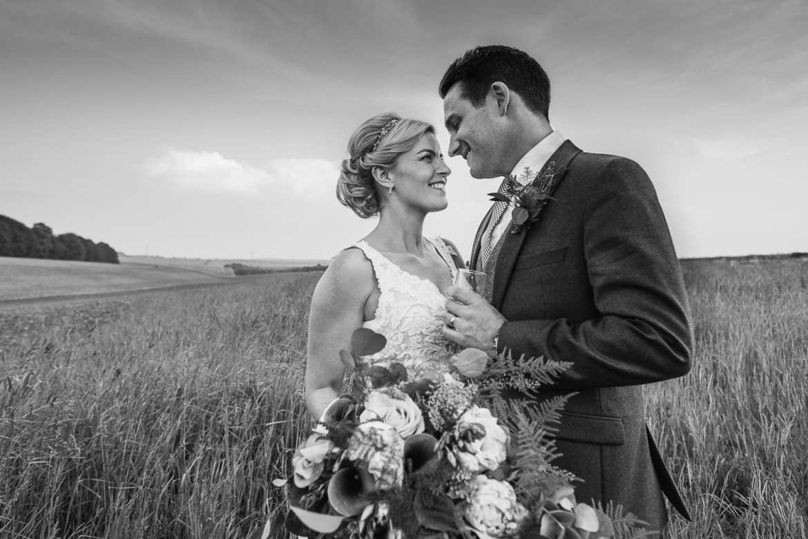 A bridal portrait in the fields