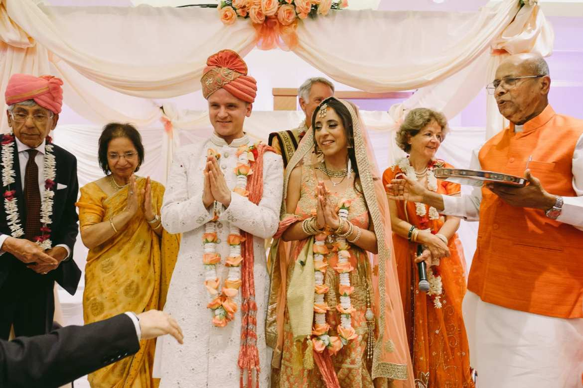 Blessings from the family during the Indian wedding