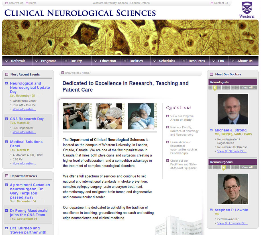 Clinical Neurological Sciences Website Home Page