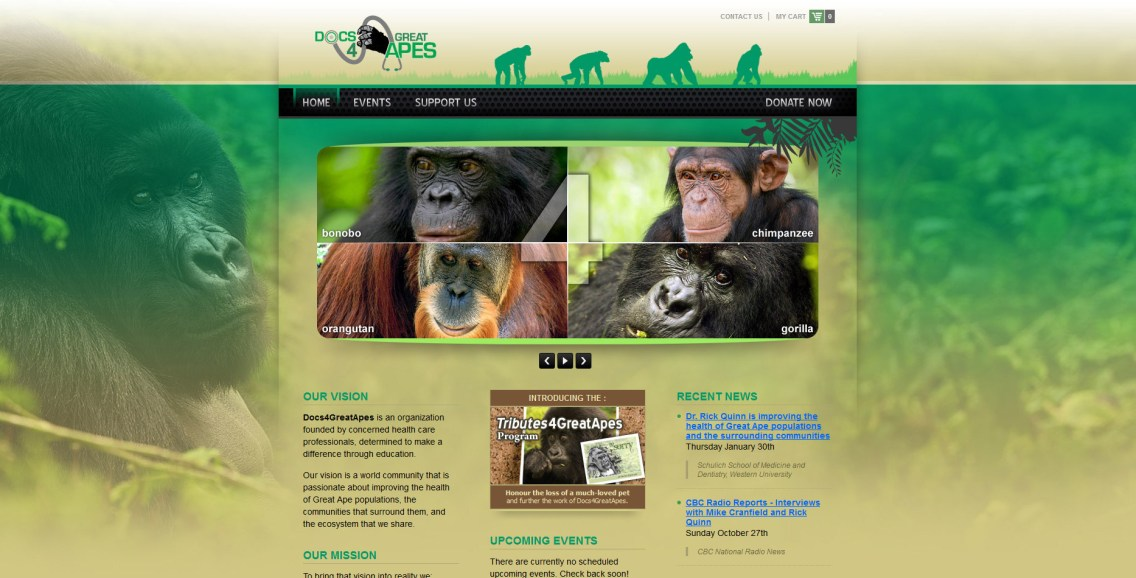 Docs 4 Great Apes Website Home Page
