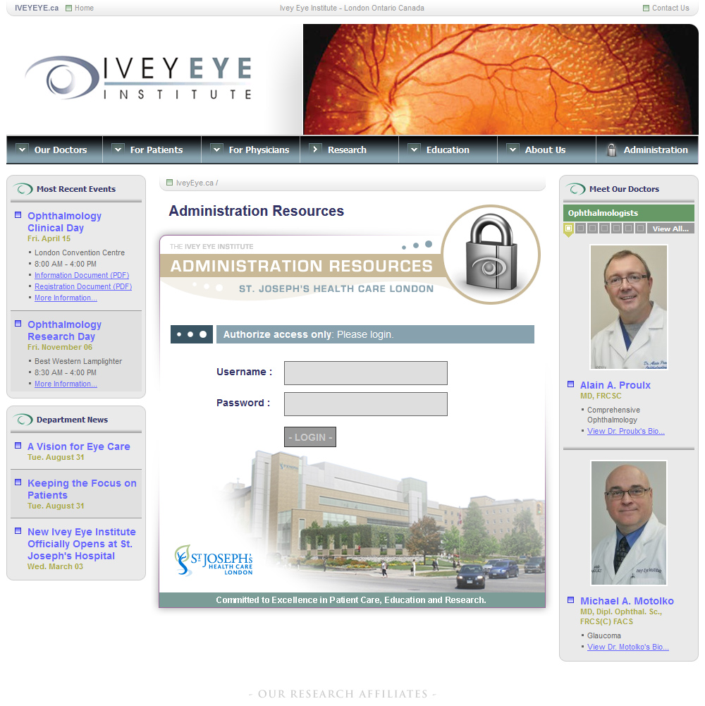 Ivey Eye Institute Website Admin Login