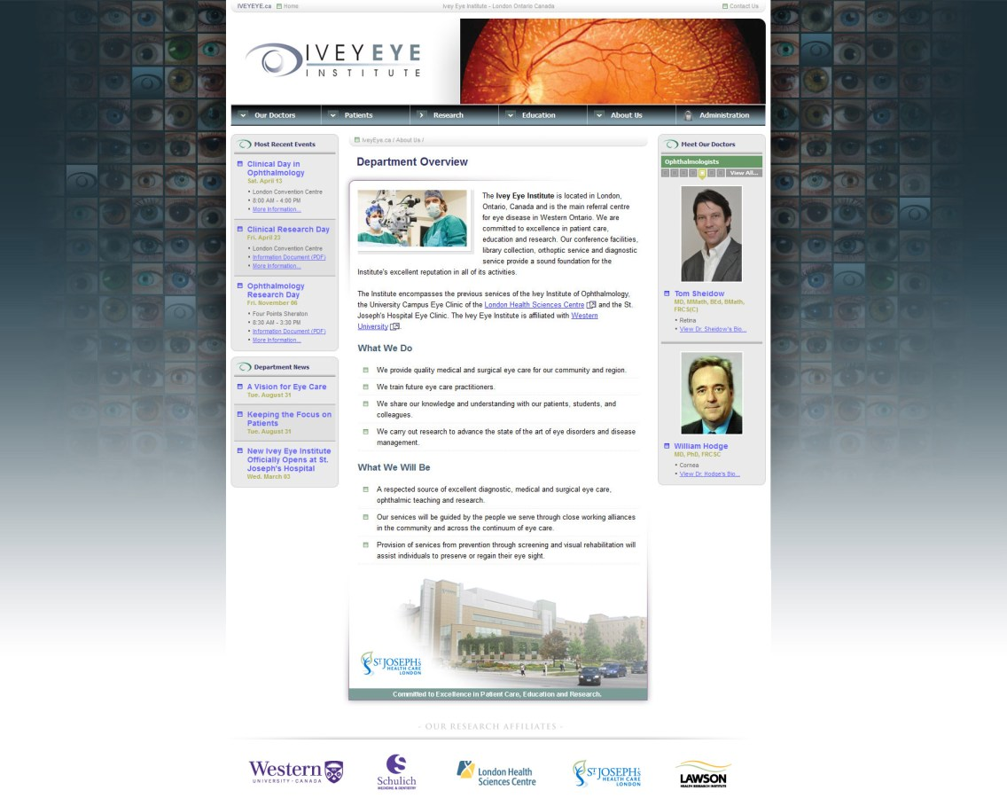 Ivey Eye Institute Website Home Page